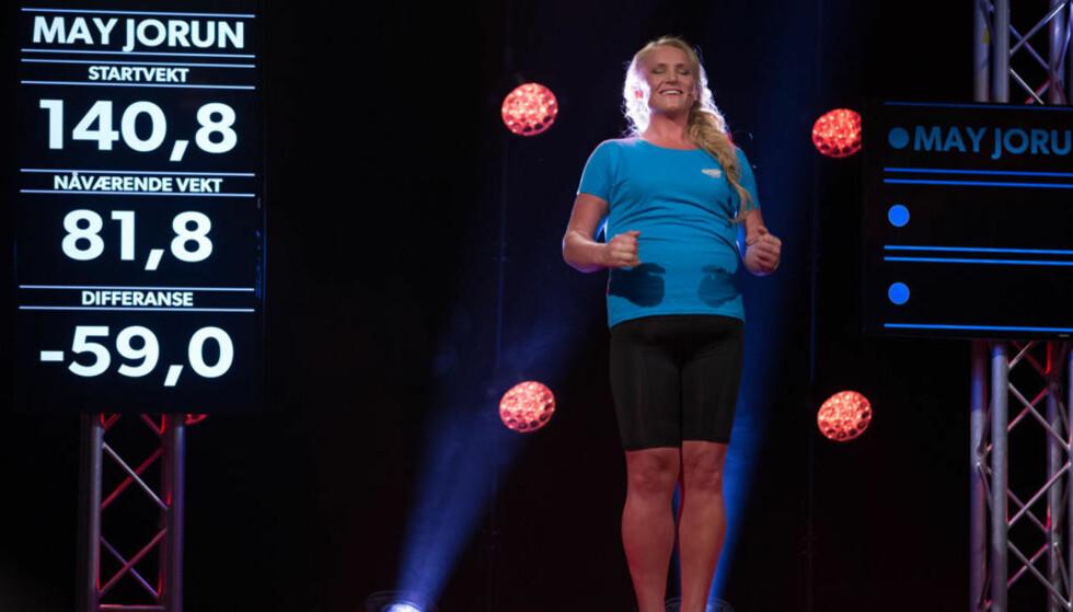 TREDJEPLASS: May Jorun Bjølgerud gikk ned 59 kilo på et halvt år som deltaker i TVNorge-serien The Biggest Loser Norge. Overgangen til hverdagen ble tøff. Foto: TVNorge