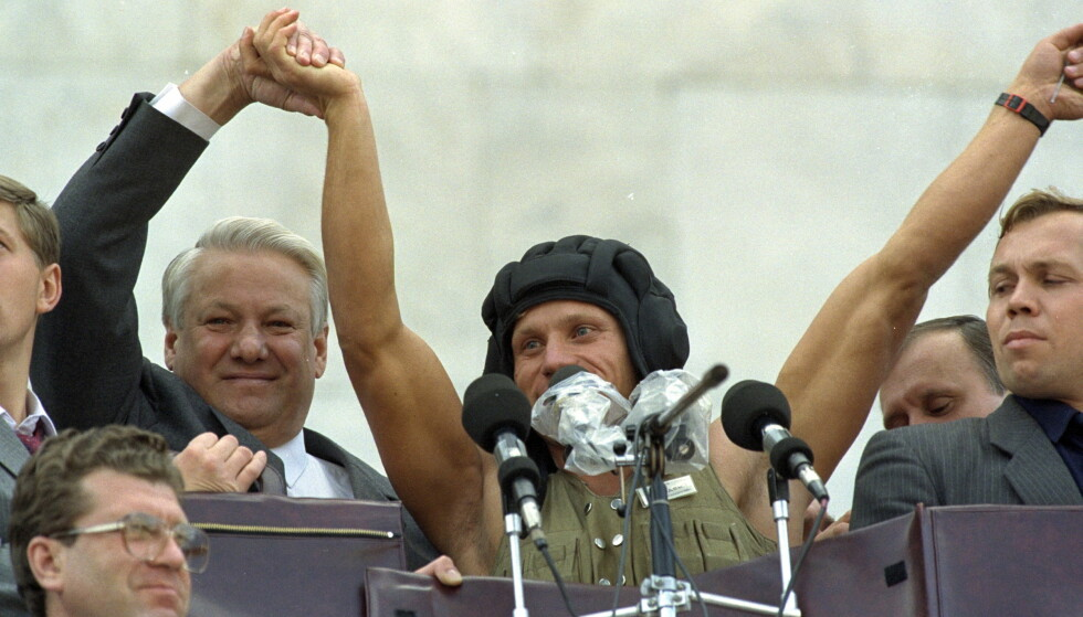 TRIUMF: Boris Jeltsin i august 1991.  Foto BØLSTAD/GEIR Dagbladet