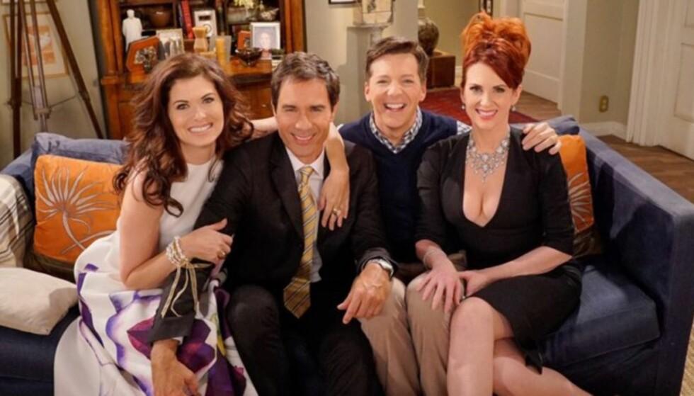 EN KLASSIKER: Amerikanske tv-serier gjør comeback, og den siste i rekken i år er «Will & Grace» er tilbake i høst på TV3, Viafree og Viaplay. Foto: NBC