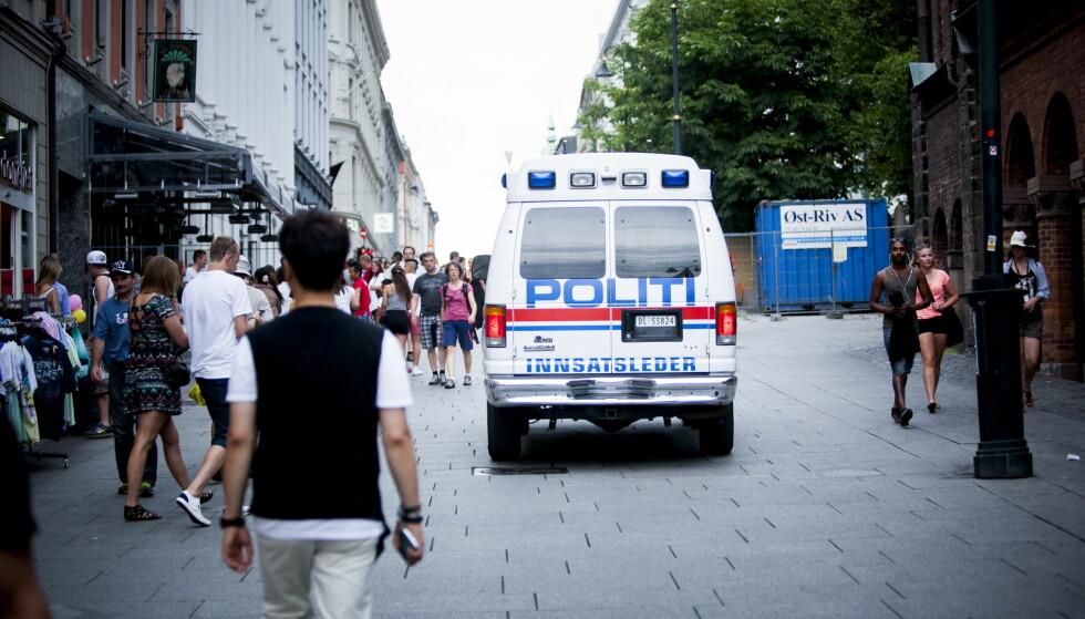 PÅ KARL JOHANS GATE: Politiet er for lite synlig på Karl Johans gate, mener artikkelforfatteren. Bildet er fra 2014, da beredskapen i hele Oslo ble økt i forbindelse med at PST høynet trusselnivået. Foto: Christian Roth Christensen / Dagbladet