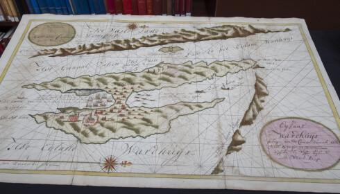 KART: William B. Ginsbergs kartsamling er den mest verdifulle gaven biblioteket har mottatt. Dette kartet er fra 1720. FOTO: Berit Roald / NTB Scanpix