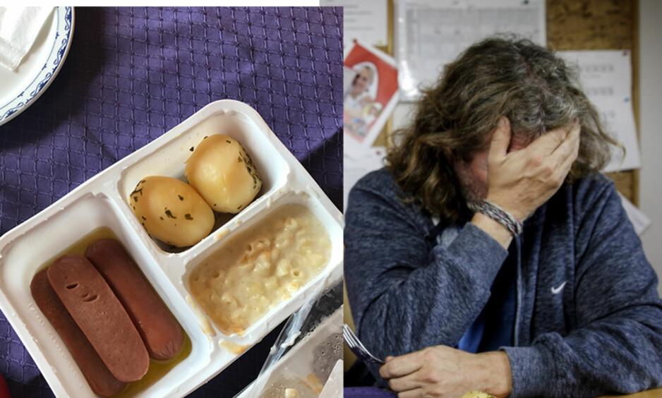 NEDSLÅENDE PÅ SYKEHJEMMET: Kokk Bård Greni lurer på om det er mulig å gi terningkast null til pølsene, makaronistuingen og potetene. Makaronistuingen står oppført som « grønnsak» på dagens meny.