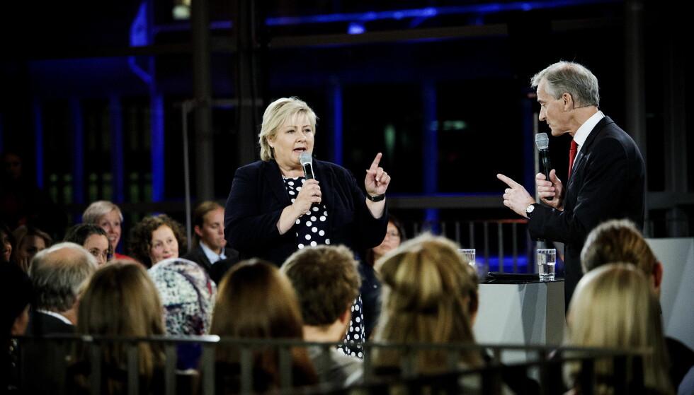 UT MOT ERNA - OG SYLVI: Jonas Gahr Støre sier Sylvi Listhaugs retorikk kommer til å være arven etter Erna Solbergs regjeringstid. Foto: Nina Hansen / Dagbladet