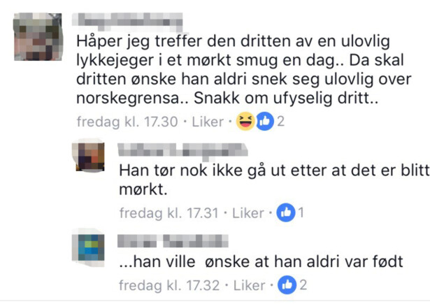 HETS: På Facebook kommer personer med drapstrusler og hets rettet mot AUF-lederen, med fullt navn og bilde. Foto: Skjermdump