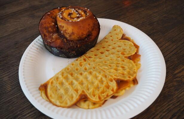 VAFFEL TO GO? Ritazza byr på diverse bakervarer som kanelsnurr og vaffel - til testernes store skuffelse.