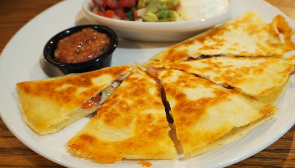 <strong>TEX-MEX:</strong> Quesadilla med ost og skinke på TGI Fridays.
