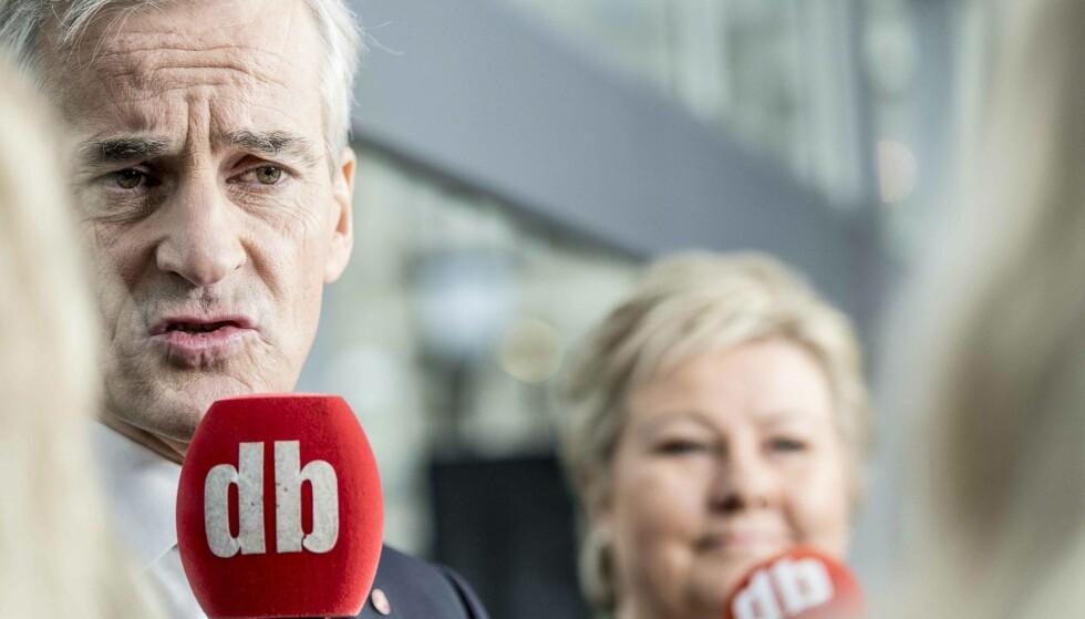 STORT SETT ENIGE: Med noen få unntak er det ikke veldig store forskjeller på pensjonspolitikken til Erna Solberg og Jonas Gahr Støre, mener eksperter som Dagbladet har snakket med. FOTO: THOMAS RASMUS SKAUG