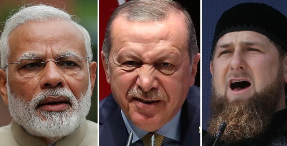 INVOLVERER SEG: Indias statsminister Rohindra Modi, den tyrskiske presidenten Recep Tayyip Erdogan og Tsjetsjenias leder Ramzan Kadyrov har alle snakket om konflikten i Myanmar. Foto: REUTERS/Adnan Abidi/AFP PHOTO / ADEM ALTAN/AP Photo/ Musa Sadulayev
