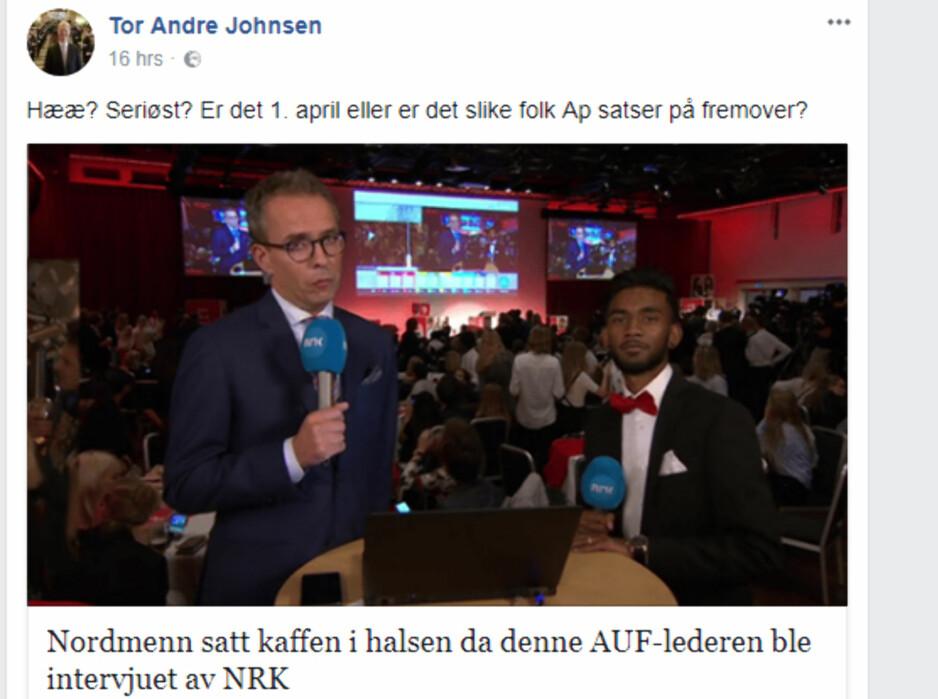 DELTE: Frps Tor André Johnsen delte denne artikkelen fra nettstedet 24avisen.com. Nå får han flengende kritikk fra AUF. Foto: Skjermdump