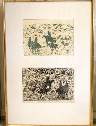 HESTER OG RYTTERE: Frans Widerbergs bilder var på listen over kunst kommunen ikke finner. FOTO: Brann og redningsetaten