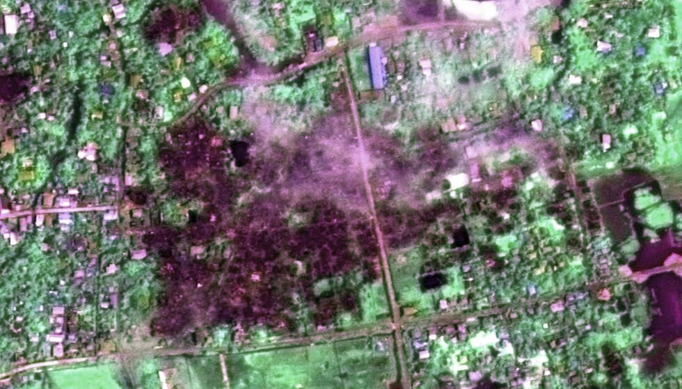 LANDSBY BLE NEDBRENT: Minst 80 store branner har brutt ut i bebodde områder i Myanmar siden den 25. august. Her er et oversiktsbilde av Maungdaw. Foto: Human Rights Watch via AP
