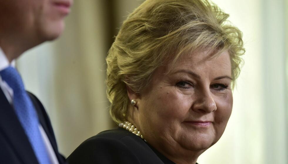 STEMTE MOT: Norge, her representert ved statsminister Erna Solberg, stemte mot FN-forslaget om et atomvåpen-forbud. Foto: Lars Eivind Bones / Dagbladet