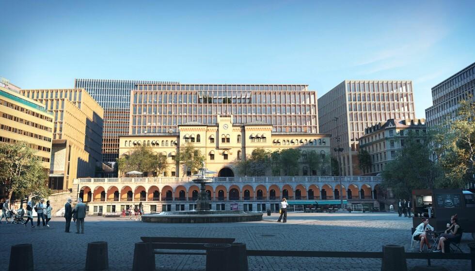 KRITIKK: Sånn vil utsikten mot regjeringskvartalet blir fra Youngstorget. Foto: Statsbygg