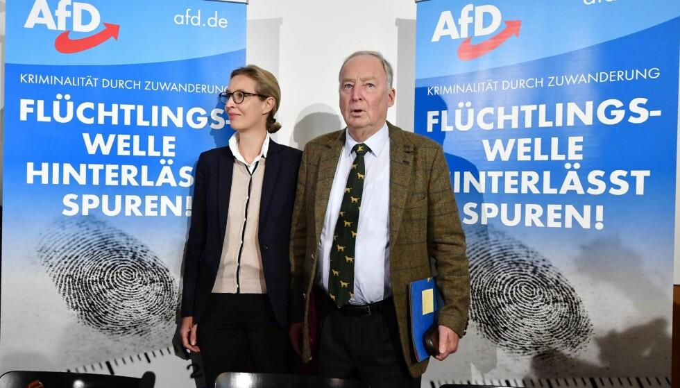 INNVANDRINGSMOTSTANDERE: Lederne for partiet AfD (Alternative für Deutschland), Alexander Gauland og Alice Weidel, noterer seg for et oppsiktsvekkende gost valg.