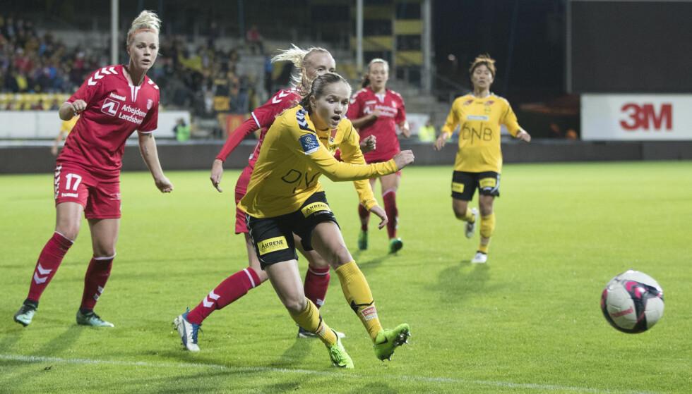Lillestrøm  20171004. Guro Reiten i mesterligaen kvinner, 1. runde 1. kamp: LSK Kvinner - Brøndby (Danmark) . Foto: Terje Pedersen / NTB scanpix
