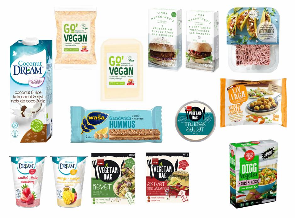GRØNNE NYHETER: Her er noen av de vegetarianske og veganske nyhetene som er nye i matbutikkene i høst.