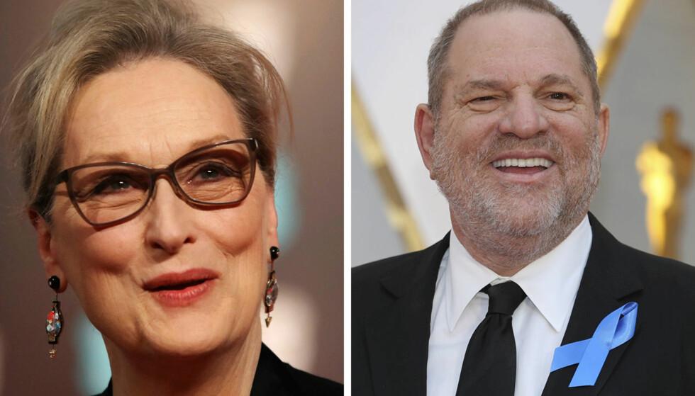FORFERDET: Meryl Streep har tidligere hyllet Harvey Weinstein for samarbeidet, nå er hun svært overrasket over anklagene. Foto: AFP / Reuters