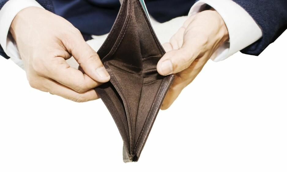 Tom lommebok: Det kan lønne seg å være forberedt på at det dukker opp uforutsette utgifter. Foto: Shutterstock / NTB scanpix
