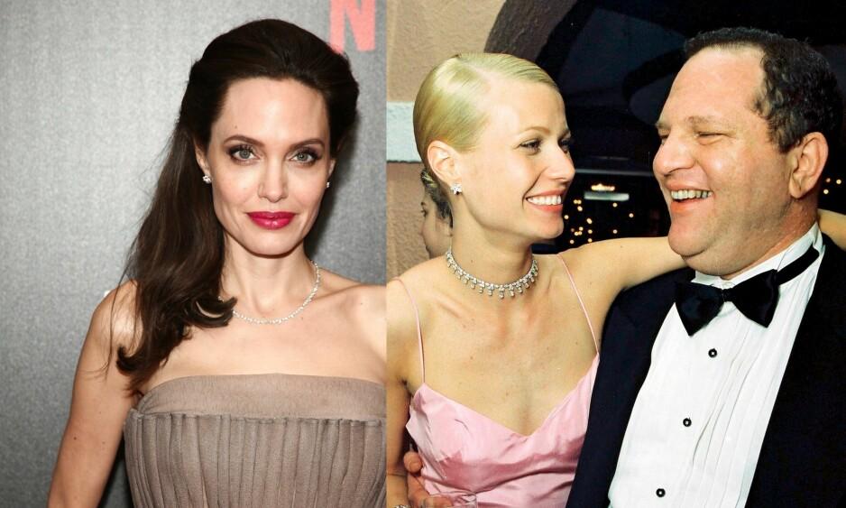 STERKE ANKLAGER MOT WEINSTEIN: To av Hollywoods største skuespillere, Angelina Jolie og Gwyneth Paltrow, går nå ut og hevder at de også har blitt seksuelt trakassert av den verdenskjente filmprodusenten Harvey Weinstein. Foto: NTB Scanpix