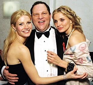 VILLE HA MASSASJE: Gwyneth Paltrow (45) hevder at produsenten Harvey Weinstein (65) ville ha henne med inn på soverommet for en massasje da hun bare 22 år gammel jobbet sammen med Weinstein som hovedrolleinnehaver i Jane Austen-adapsjonen «Emma». Her er Paltrow og skuespillerkollega Cameron Diaz tett omslynget med Weinstein under en Golden Globe-fest i 1999. Foto: NTB Scanpix