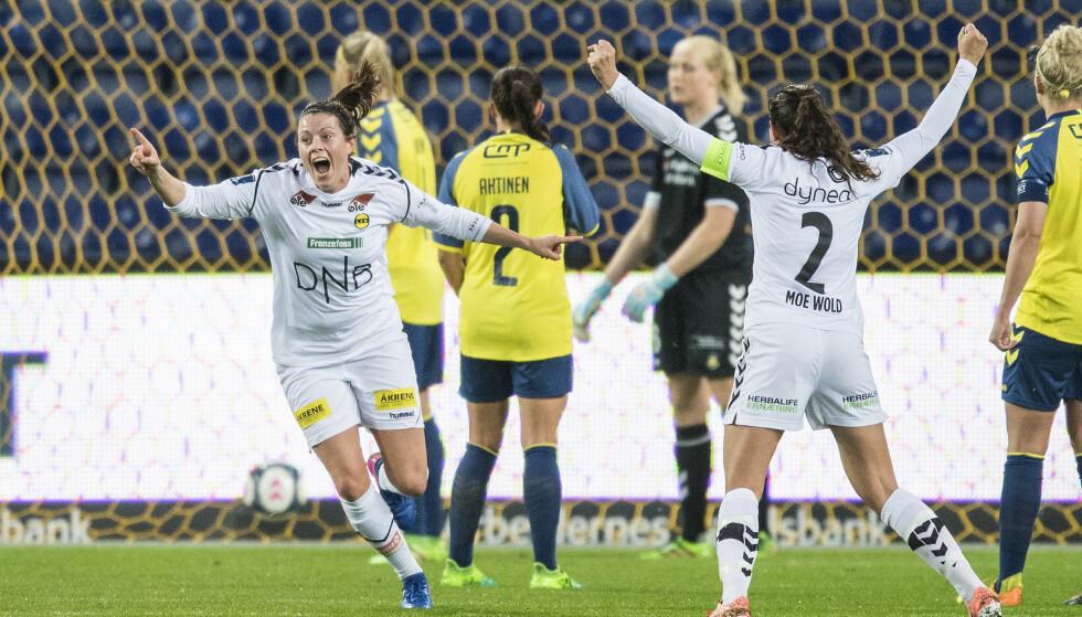 FULL JUBEL: Isabelle Bachor jubler for 2-0-målet hun scoret mot Brøndby i Champions League i kveld. LSK Kvinner vant 3-1 sammenlagt. Foto: Anders Kjærbye / NTB Scanpix
