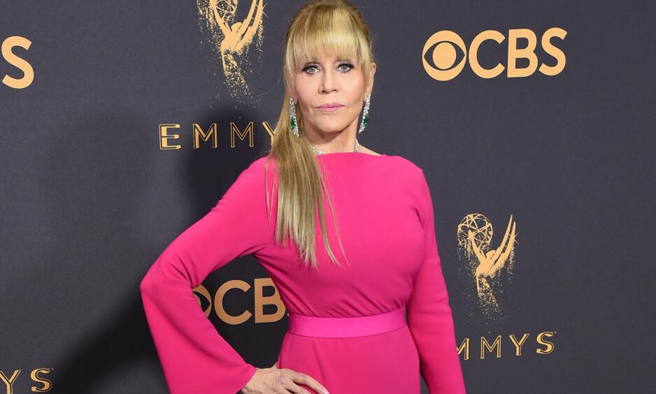 OVERGREP: Jane Fonda har selv blitt utsatt for seksuelle overgrep og blitt seksuelt trakassert. For noen år siden fikk hun sparken fordi hun nektet å ha sex med sjefen sin. Fonda tror ikke Weinstein-skandalen er en isolert hendelse, men at overgrep mot kvinner skjer hele tiden, også i Hollywood. Foto: AP / NTB Scanpix