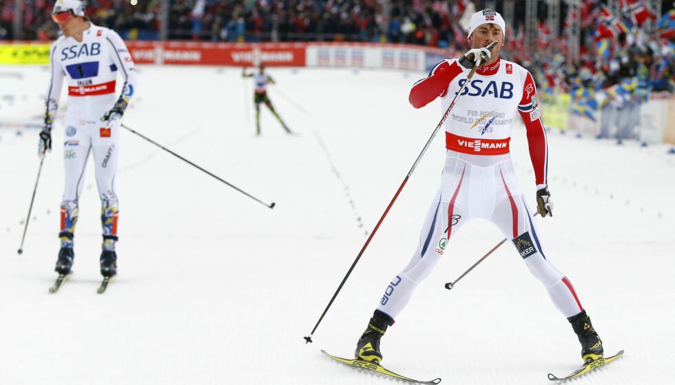 BARNESKIRENNENES MESTER: Petter Northug etter nok en VM-triumf. Ingen er bedre enn ham til å fronte skisportens kampanje for å få fokus på de rette verdiene i barnerennene. Der hører ikke rådyr fluor hjemme. FOTO: Terje Pedersen / NTB scanpix.