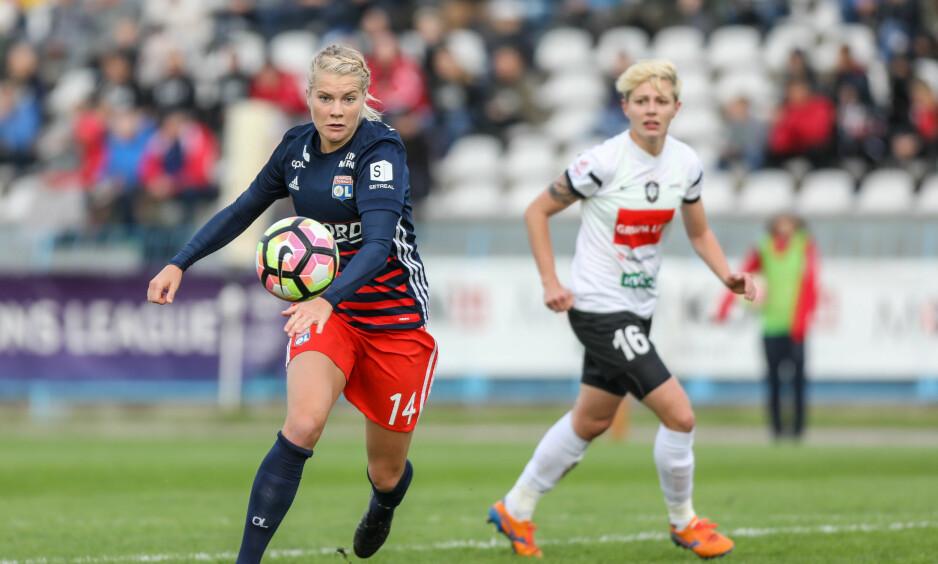 MÅLSHOW: Ada Hegerberg scorte fire mål da Lyon pulveriserte sin kazakhstanske motstander i Champions League onsdag. Foto: Pawel Jaskolka/PressFocus/REX/Shutterstock/NTB Scanpix