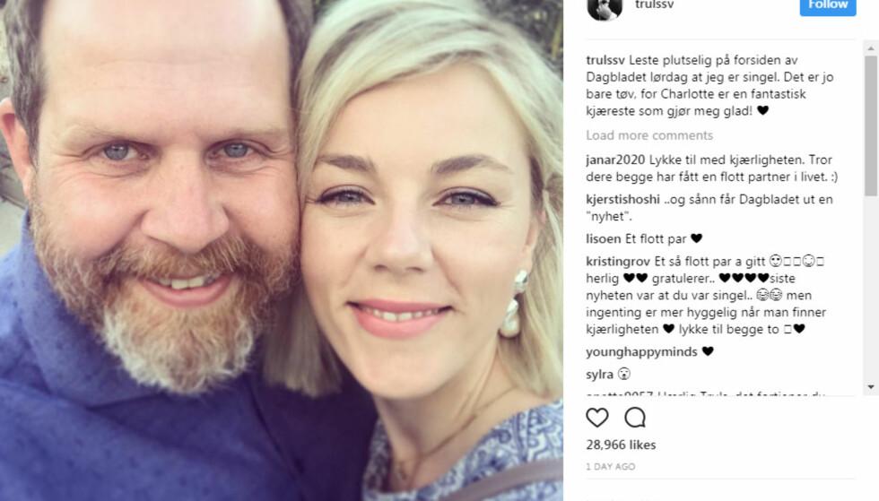 IKKE SINGEL: På bakgrunn av at Dagbladet feilaktig opplyste at Truls Svendsen (45) var singel, viste han i helga fram kjæresten for første gang. Foto: Instagram
