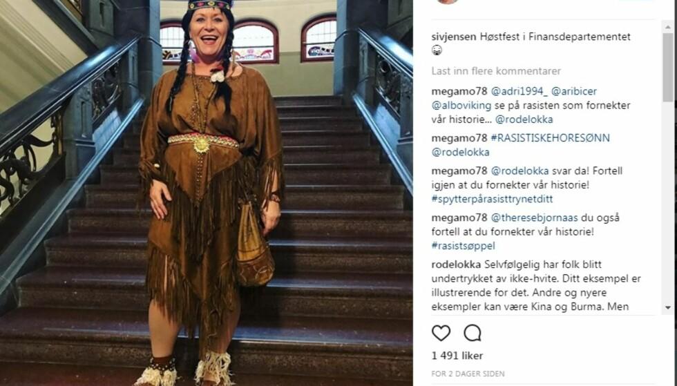 """FIKK KRITIKK: Siv Jensen høstet kritikk etter å ha kledd seg i dette kostymet under Finansdepartementets høstfest. Nå skal ordet """"indianer"""" ut av leksikonet. Foto: Instagram/Scanpix"""