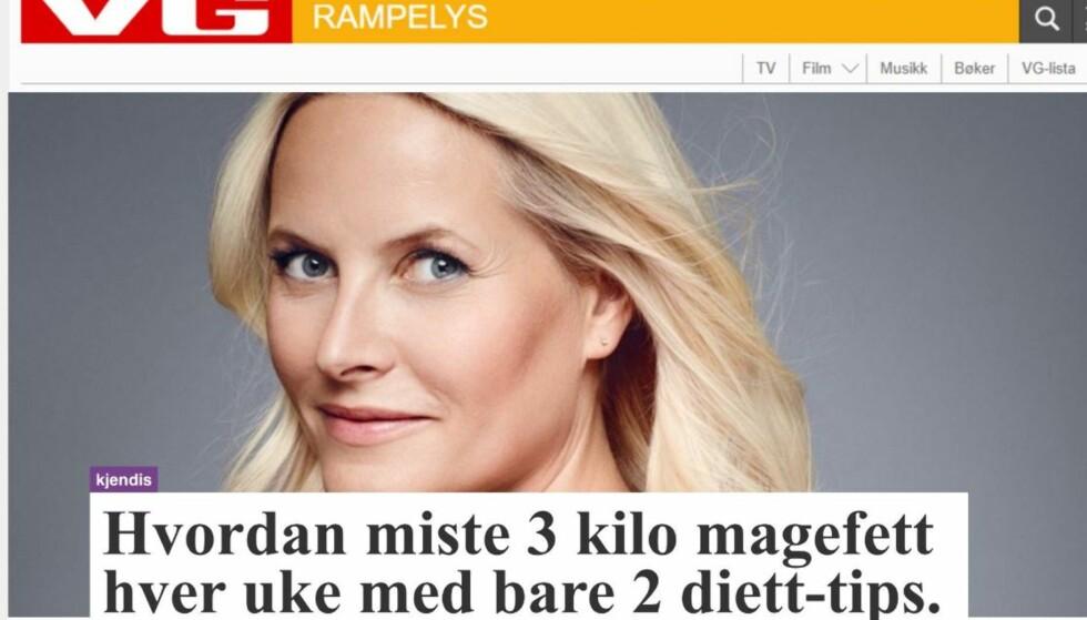 REKLAME: Slik ser reklamen ut, hvor det hevdes at kronprinsesse Mette-Marit reklamerer for et slankeprodukt. VG er også misbrukt i reklamen. FOTO: Skjermdump