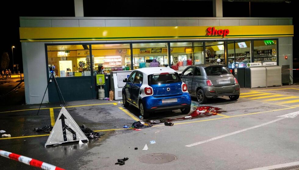 GIKK TIL ANGREP: En 17-åring er pågrepet etter å ha angrepet flere personer med øks i byen St. Gallen. Han ble pågrepet ved denne bensinstasjonen. Foto: NTB Scanpix