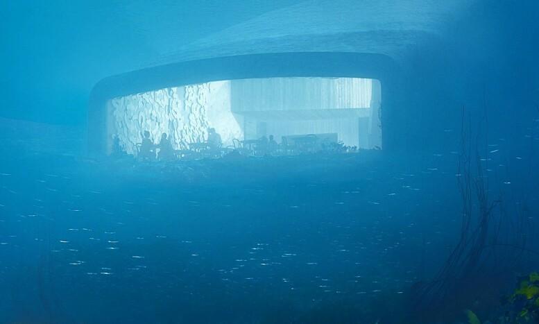 HEI DER: Slik vil restauranten se ut for fiskene, eller dykkere, utenfor. Varmt treverk og fleksibel belysning skal sørge for god atmosfære. Foto: MIR and Snøhetta