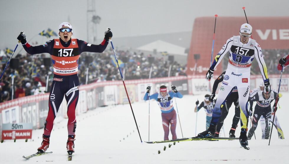 SLÅTT IGJEN: Calle Halfvarsson og Sverige taper på nytt mot Finn Hågen Krogh og Norge selv foran rekordpublikummet hjemme i Ulricehamn. FOTO: Lars Eivind Bones / Dagbladet.