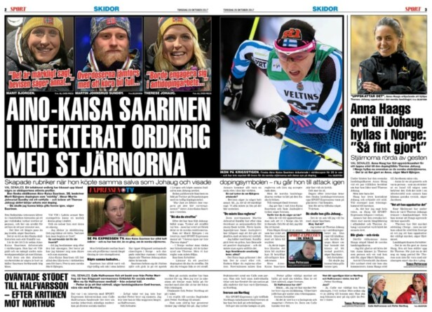 <strong>SKAPER OVERSKRIFTER:</strong> Aino-Kaisa Saarinen snakker om både Marit Bjørgen, Martin Johnsrud Sundby og Therese Johaug i Expressen i dag.