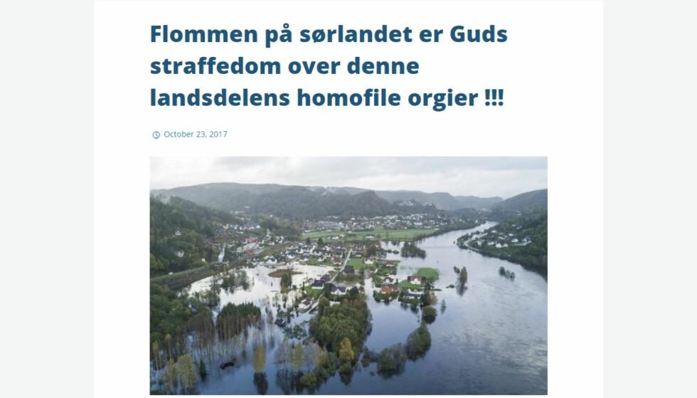 BARE TULL: Mange, også Adresseavisen, tok denne artikkelen på alvor. Foto: Skjermdump fra nettsiden Smyrna Menighet.