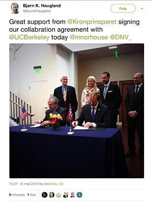 Kronprinsparet kastet glans da DNV signerte kontrakt med et amerikansk universitet i 2013 under et offisielt besøk.