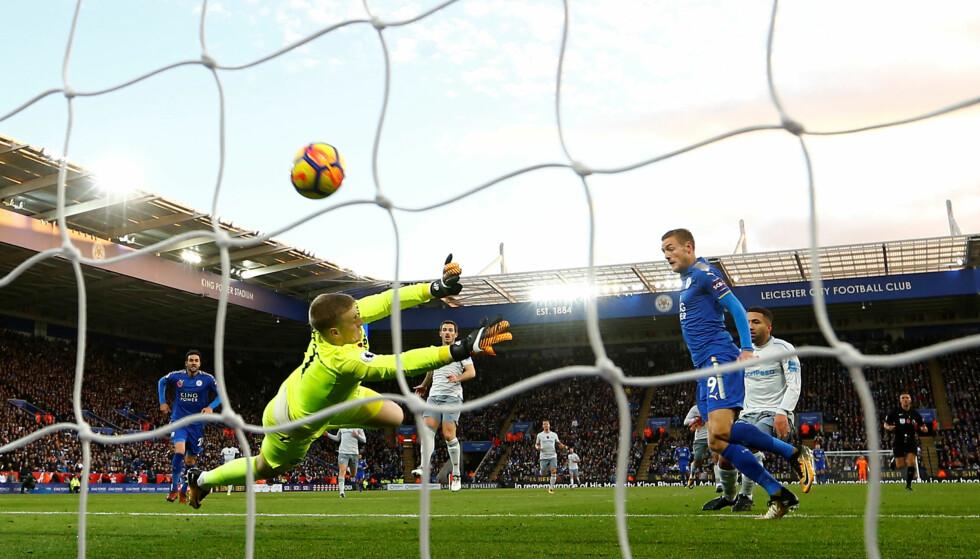 NYDELIG KONTRING: Jamie Vardy var på rett plass og kunne enkelt styre inn et innlegg fra Riyad Mahrez som sendte Leicester foran mot Everton. REUTERS/Darren Staples/NTB Scanpix