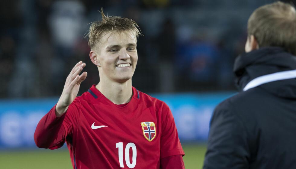 BACK IN BUSINESS: Martin Ødegaard har ni landskamper for Norge. Lørdag kan han få kamp nummer ti mot Makedonia. Foto: Terje Bendiksby / NTB scanpix