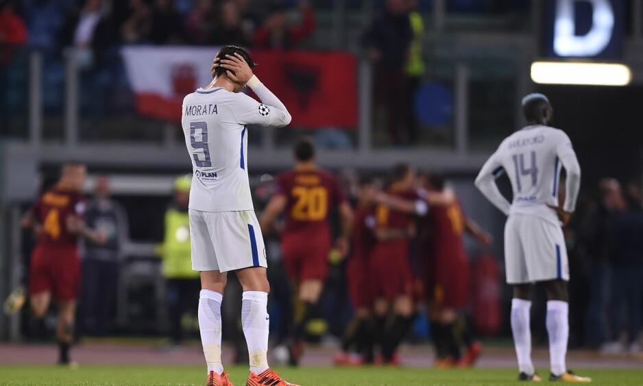 FØRSTE TAP: Chelsea klarte ikke å stoppe Roma og Stephan El Shaarawy. Dermed ble de første engelske lag til å tape i årets Champions League. Foto: AFP PHOTO / Filippo MONTEFORTE / NTB Scanpix