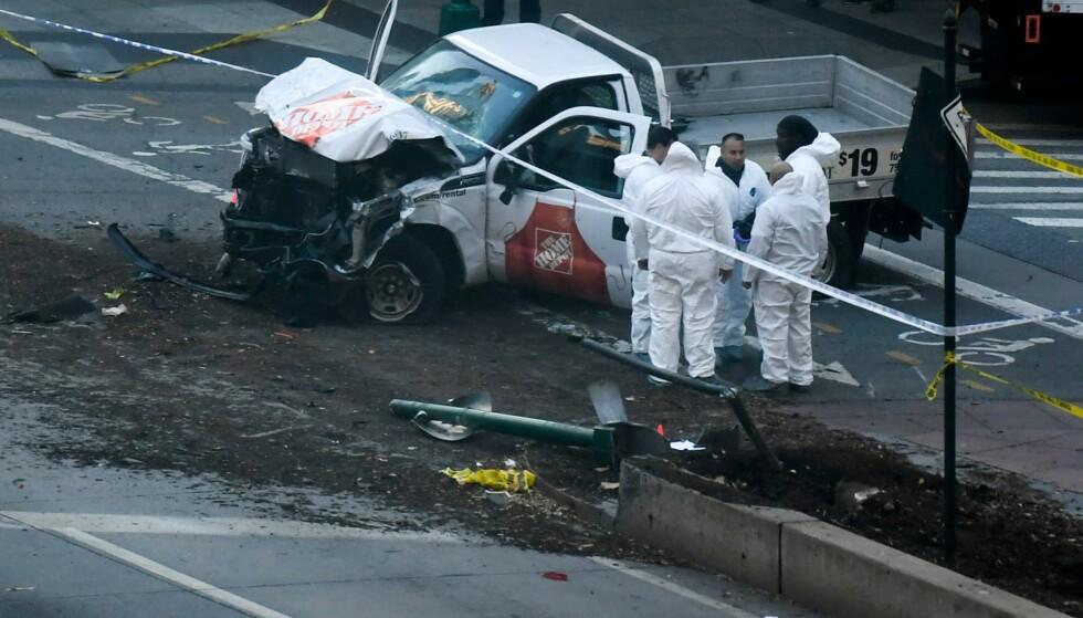 Her er bilen den pågrepne 29-åringen kjørte ned fotgjengere og syklister med. Foto: NTB Scanpix