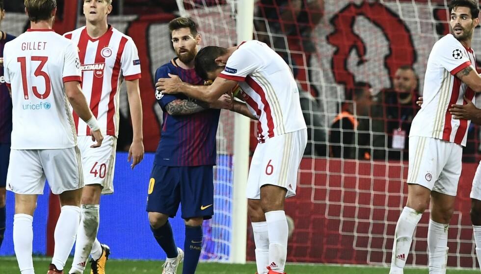 STANG UT:Lionel Messi og Barcelona klarte ikke å få ballen i mål mot Olympiakos. Foto: Petros Giannakouris / AP / NTB scanpix