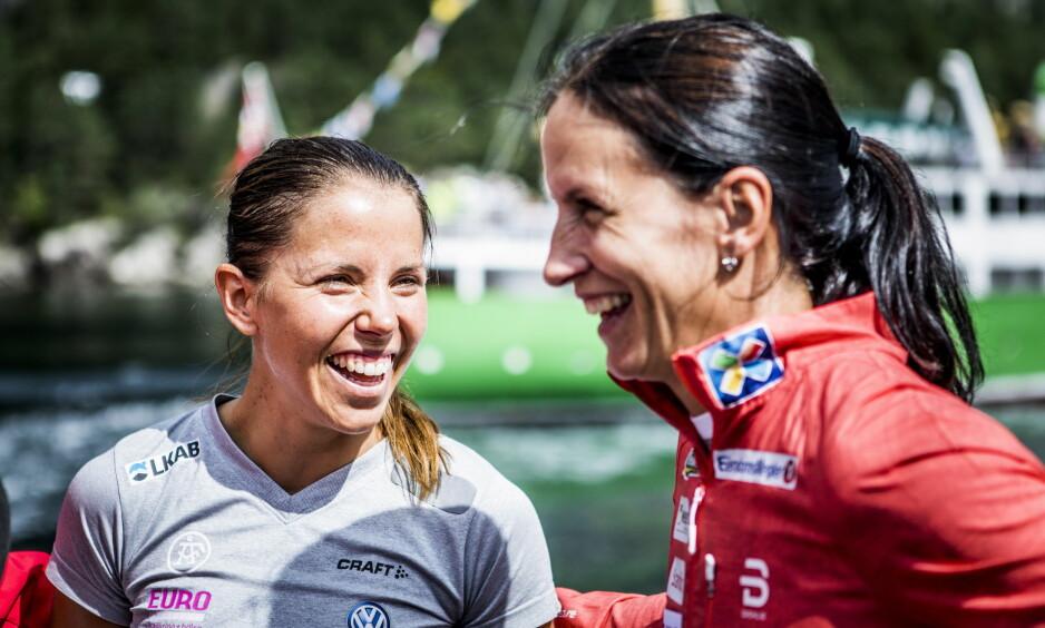 HØYDETRENING. Charlotte Kalla og Marit Bjørgen skal begge trene i høyden i Italia. Her i anledning Blinkfestivalen. Foto: Christian Roth Christensen / Dagbladet