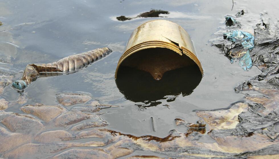 LEKKASJE: Store mengder olje fløt i land etter lekkasje i en av Shells oljeledninger i Oloma i Nigeriadeltaet for tre år siden. 3800 tønner med olje skal ha lekket ut langs en strekning på flere kilometer i en av de verste oljekatastrofene i landet på mange år. Foto: Tife Owolabi / Reuters / NTB Scanpix
