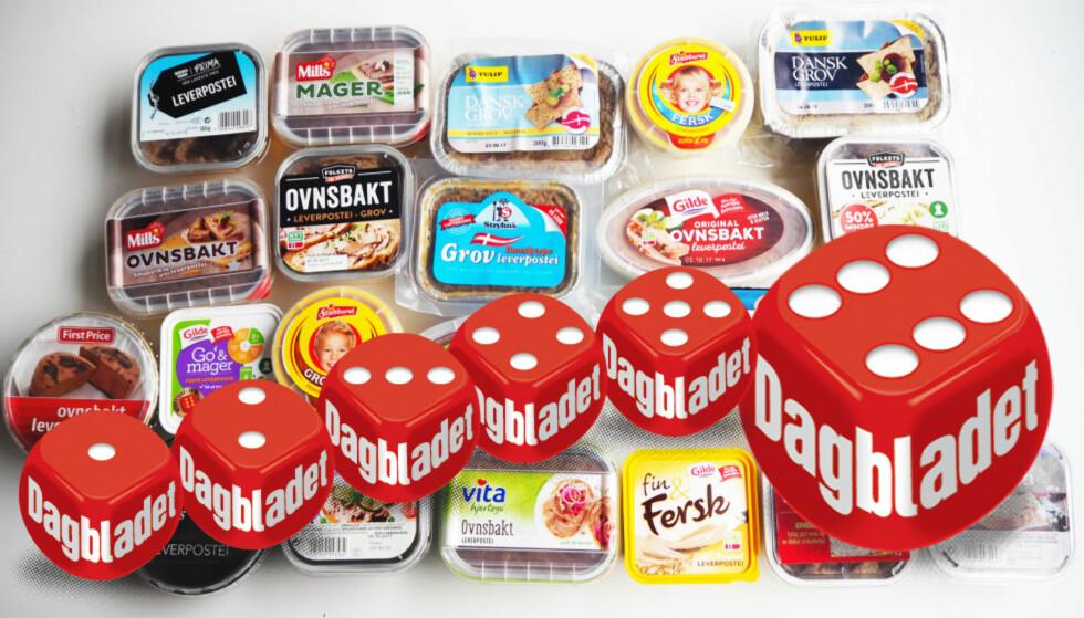 PÅLEGGSTEST: Lavprisvariantene fikk testpanelet til å trille høye terningkast da de smakte seg gjennom dagligvarekjedenes leverposteiprodukter. Foto: Dagbladet
