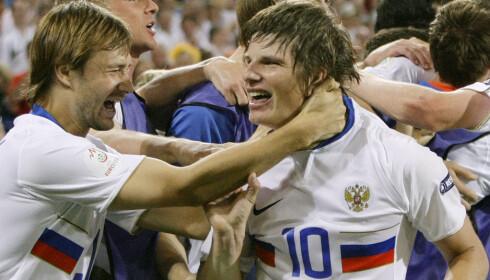HERJET: Andrej Arshavin løp over alt og alle i fotball-EM i 2008. Ti år senere arrangerer de fotball-VM på hjemmebane. Foto: NTB Scanpix