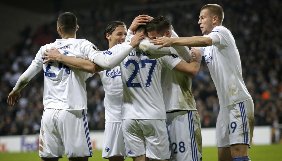 JUBEL: FC København feirer scoring og en etterlengtet seier i europaligaen mot Zlín torsdag. Foto: Jens Dresling, Ritzau / AP / NTB scanpix