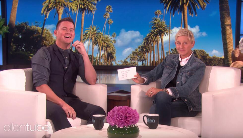 «ELLEN»: Channing Tatum og Ellen DeGeneres på «Ellen» tidligere i år. Foto: NTB Scanpix