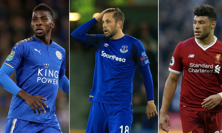SLITER I NYE KLUBBER: Kelechi Iheanacho (Leicester), Gylfi Sigurdsson (Everton) og Alexander Oxlade-Chamberlain (Liverpool). Foto: NTB Scanpix