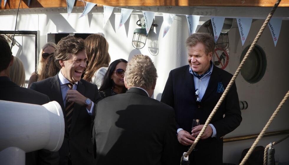 I HARDT VÆR: Gunnar Bjørkavåg (til høyre) er konsernsjef i NHST, som blant annet eier Dagens Næringsliv og Morgenbladet. Bjørkavåg har fått mye kritikk etter en sleivete kommentar om kjønnsbalanse i konsernledelsen. Torsdag er uttalelsen hans tema i et ekstraordinært styremøte. Foto: Anders Grønneberg / Dagbladet